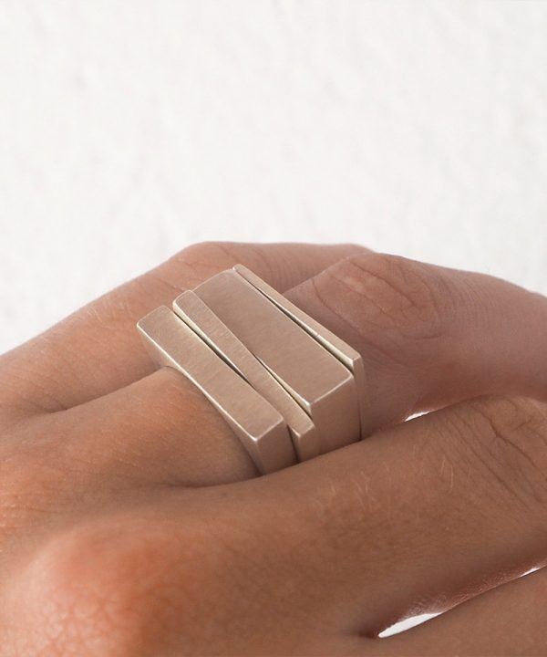 Geometric Silver Stacking Rings