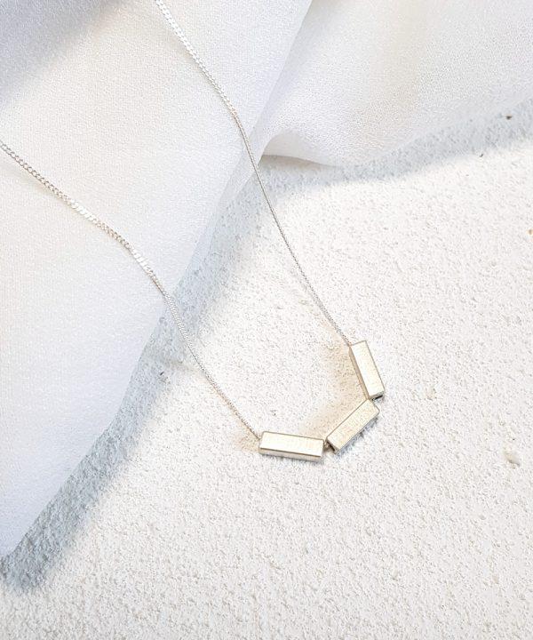 Silver Triple Bar Geometric Necklace