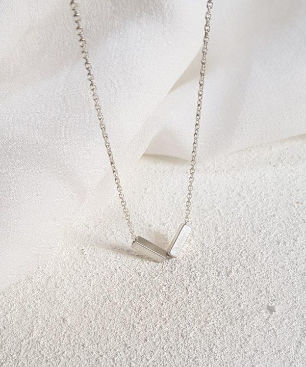 Twin Bar Geometric Necklace