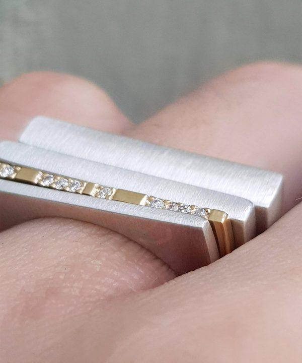 9ct yellow Gold Geometric Diamond Stacking Ring