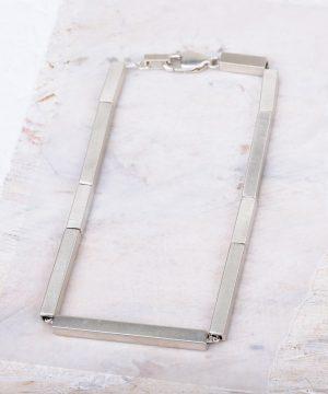 "Geometric Silver Bracelet Rhythm 6.5"""