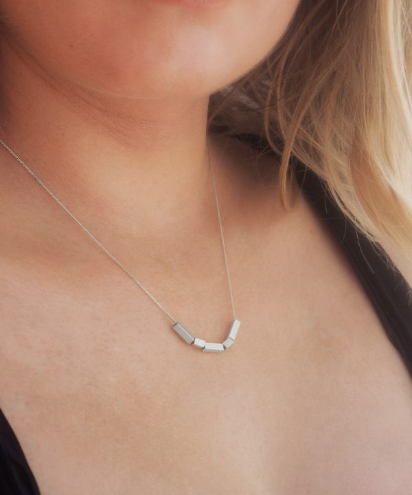 Silver Mixed Quin Geometric Necklace