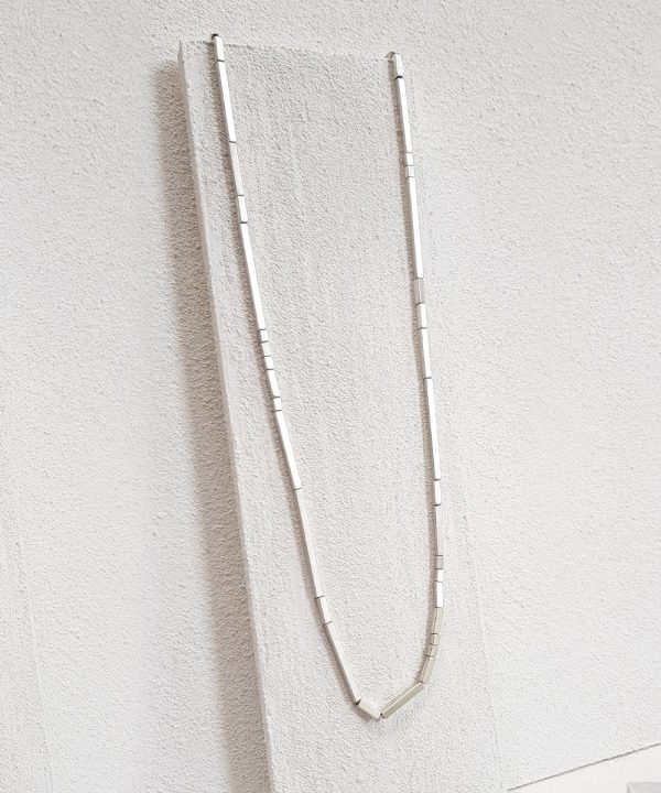 """Geometric Silver Necklace 30"""""""