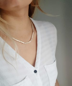 """Geometric Silver Necklace 18"""""""