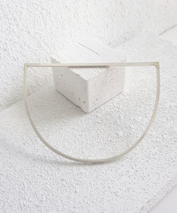 Plain silver semi circle bangle geometric jewellery