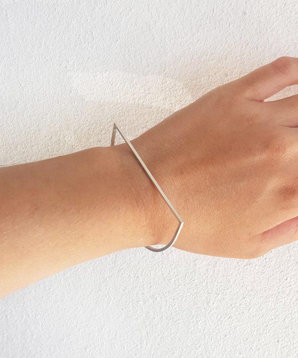 silver semi circle bangle geometric jewellery