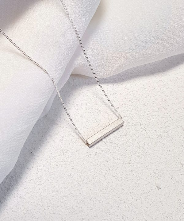 Geometric Single Bar Silver Necklace